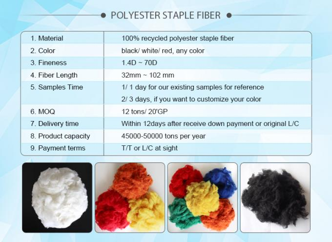 1.2d-90d staple fiber with polyester material in AAA grade with multiple colors
